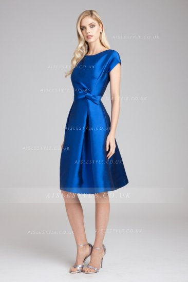 #Aisle Style A-line bateau neck with cap-sleeve bow knee-length satin wedding guest dress