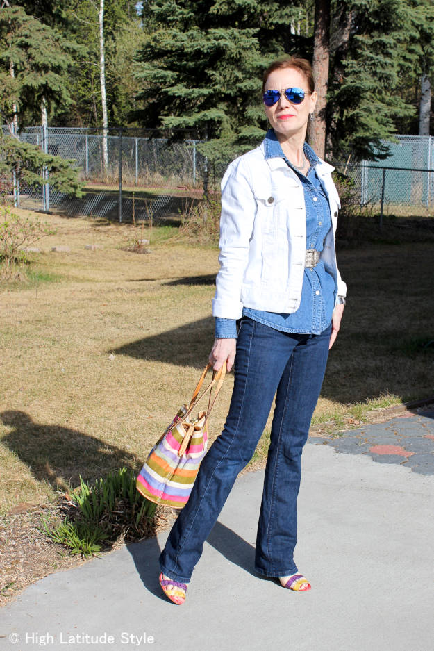 style blogger looking hip in a Canadian tuxedo for traveling