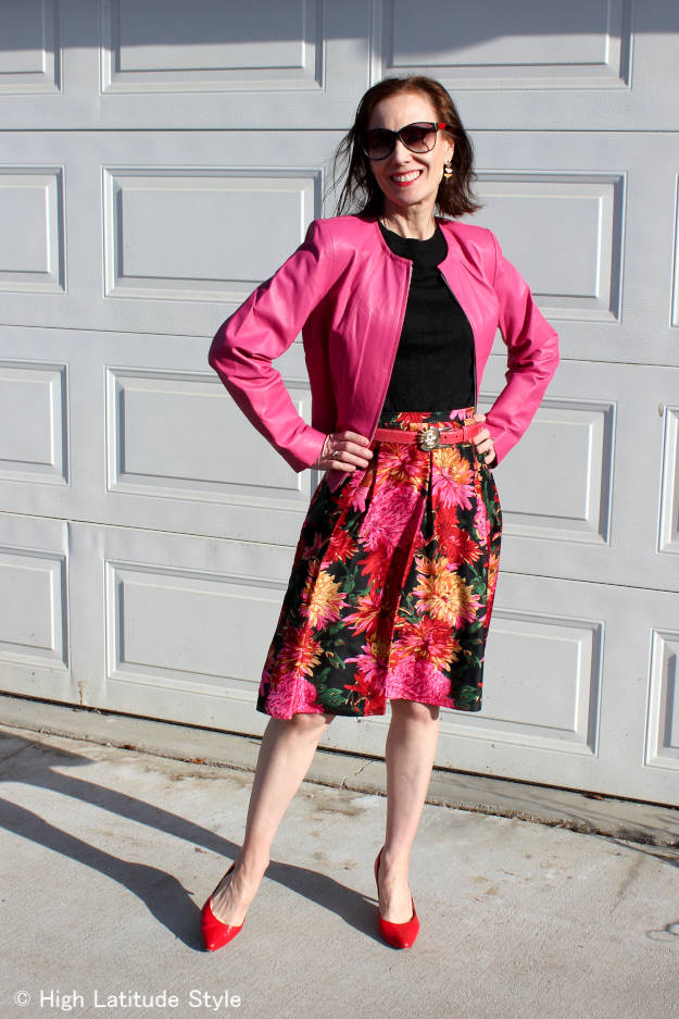 #maturestyle midlife lady in floral print skirt with matching coat