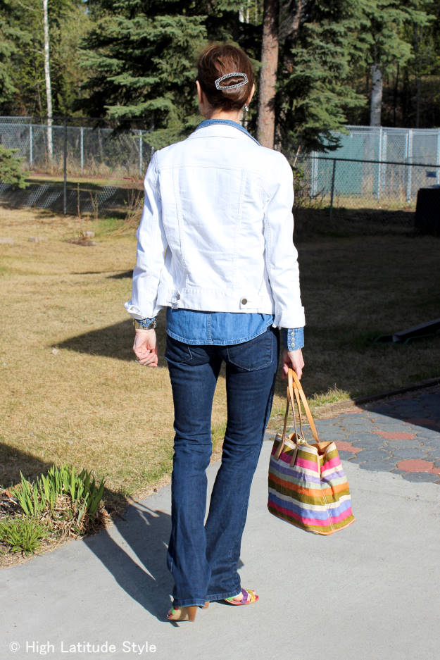 #fashionover40 triple denim outfit not a Canadian tuxedo