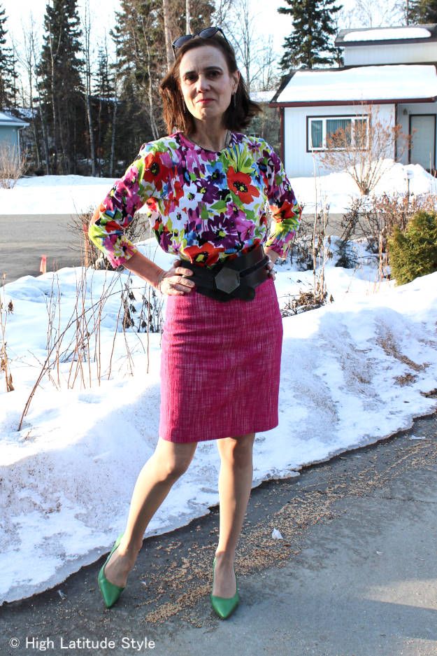 Nicole of High Latitude Style looking posh in a work outfit for spring