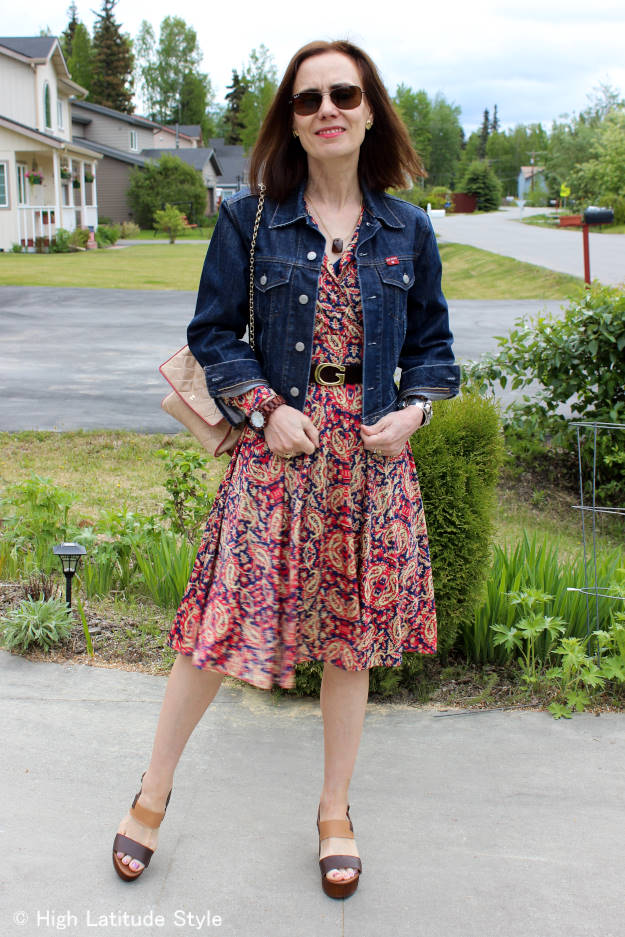 #instantstyle mature woman wearing a dress with denim jacket