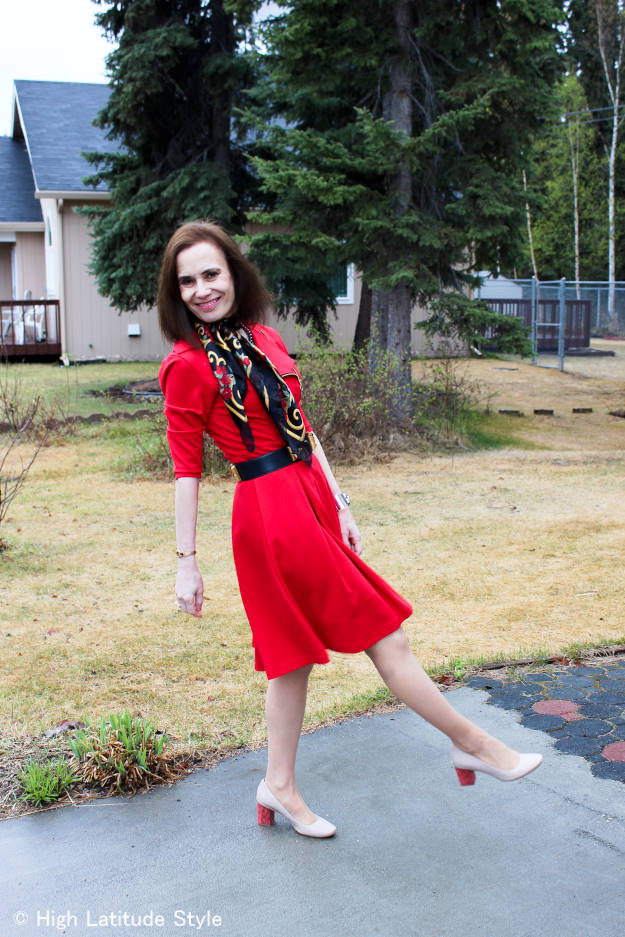style over 40 Woman in a Little Red Dress for Valentine's Day