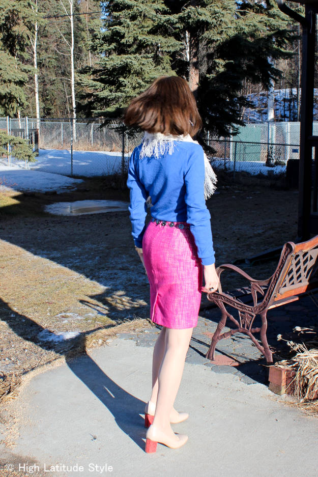 Alaskan style blogger donning a spring work outfit inspiration