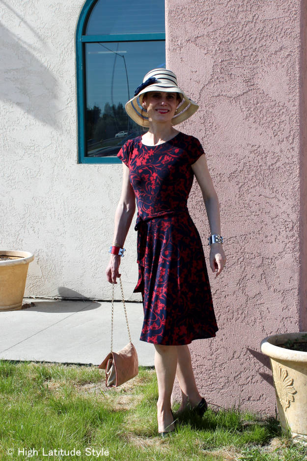 mature fashion blogger in Karina dress styled for the weekend