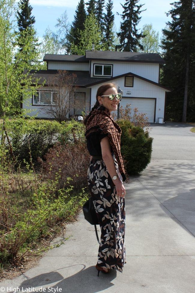 stylist in beach maxi skirt