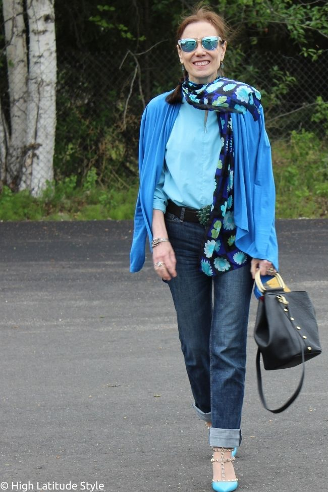 style book author in Casual Friday outfit that also works for an after work picnic look