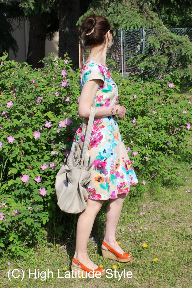 mature woman in floral summer dress