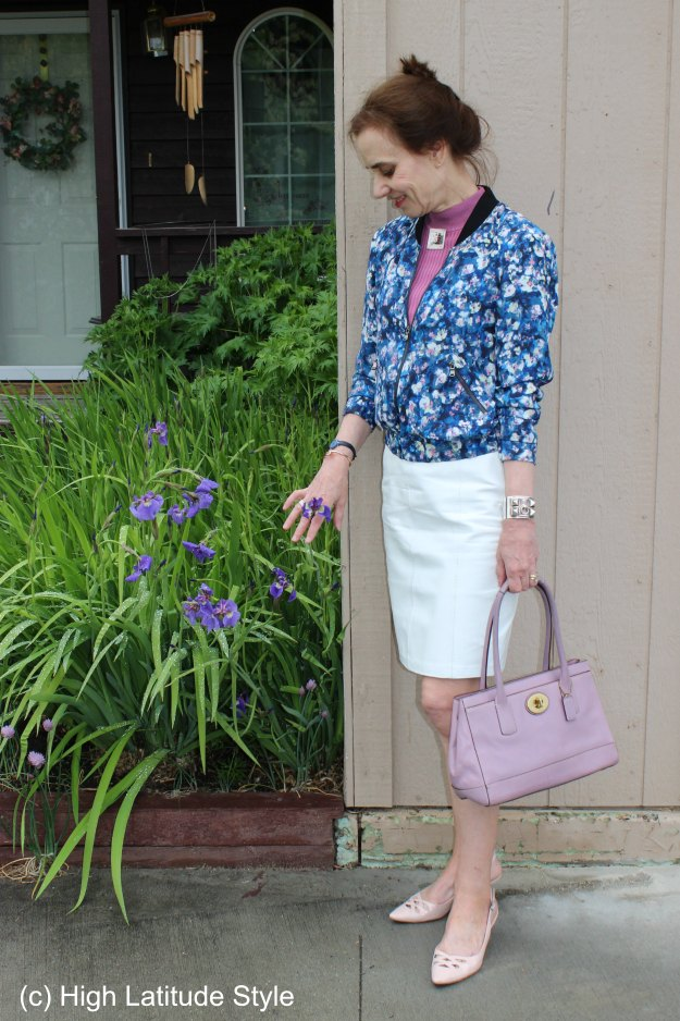 #fashionover50 Work outfit with floral bomber jacket