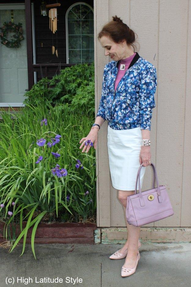 fashion influencer in floral pilot jacket