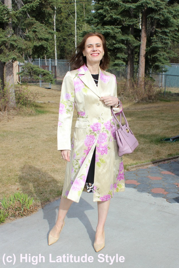 Floral coat as a statement piece in spring