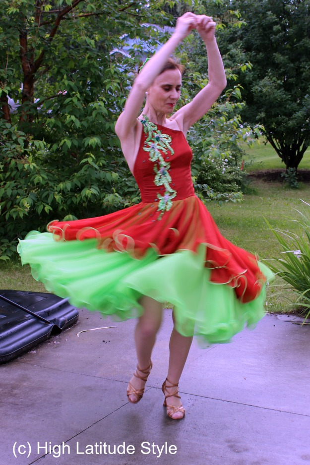 #dancefashion woman in great shape thru ballroom dancing wearing a dance gown