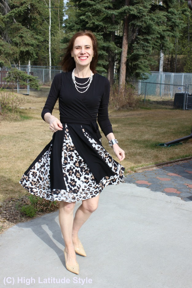 style book author in leopard print dress