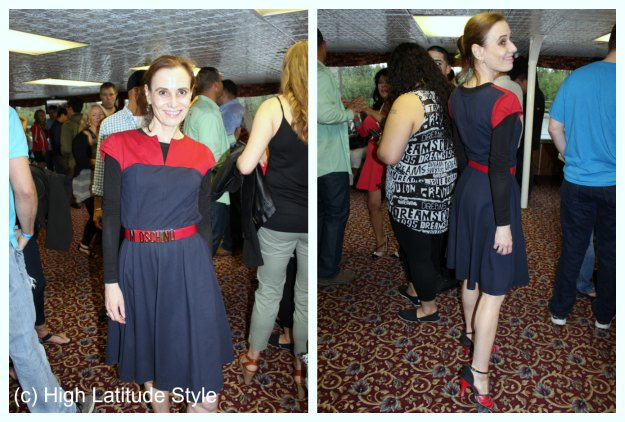 #fashionover40 style blogger in jersey eShakti fit-and-flare dance dress with red details