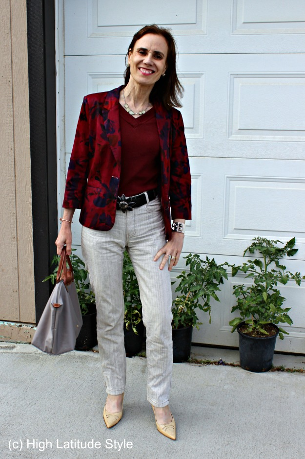 #fashionover40 fashion blogger Nicole in a Casual Friday outfit with linen and floral blazer