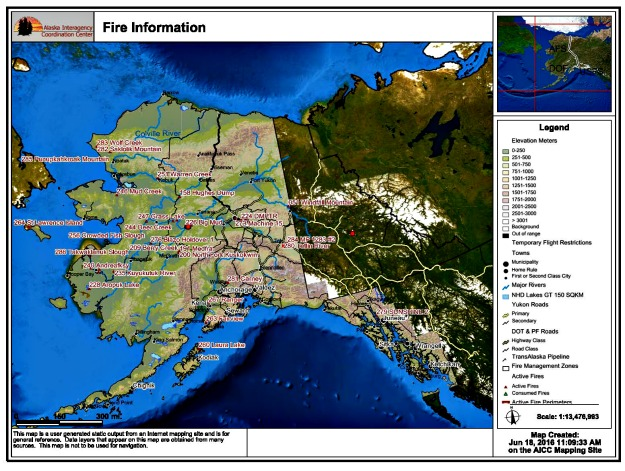 Fires burning in Alaska on June 18, 2016