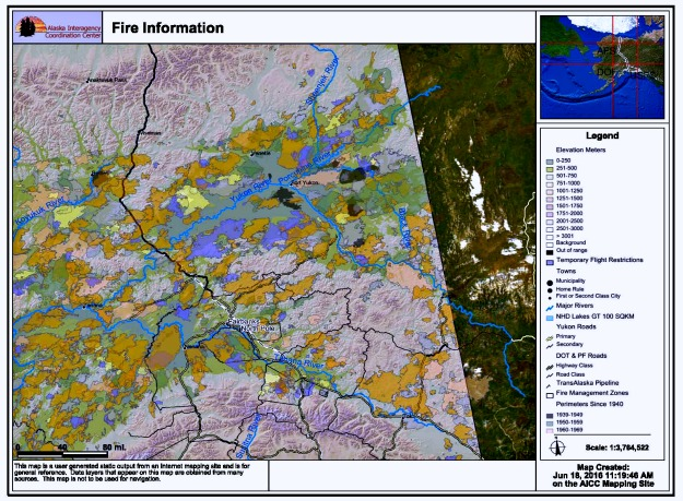 #FocusAlaska Areas burned by wildfires in Interior Alaska since 1939