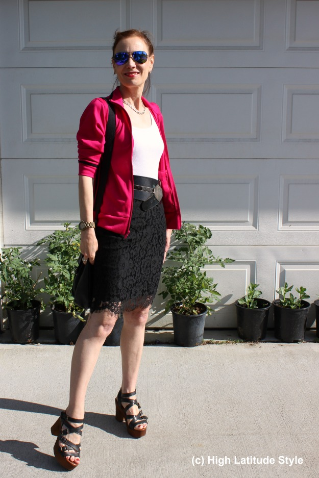 #fashionover50 mature woman wearing an Adidas jacket