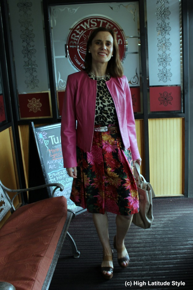 #fashionover40 mature woman in pink leather jacket at http://wp.me/p3FTnC-560