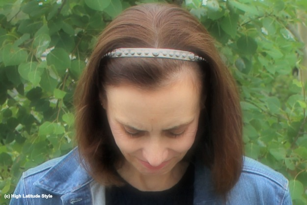 #hairover50 mature woman with studded headband