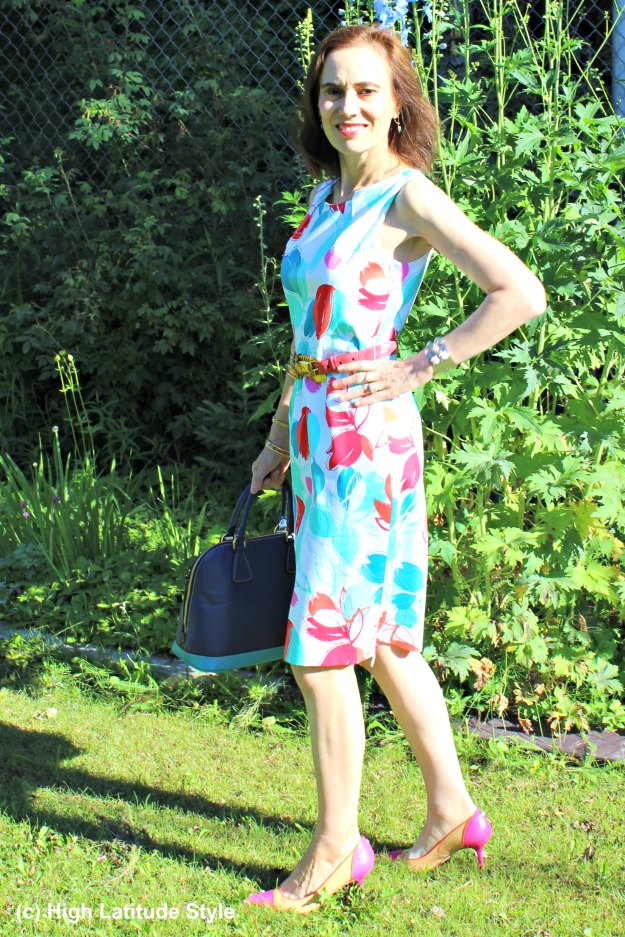 maturestyle woman in posh work outfit with floral print sheath