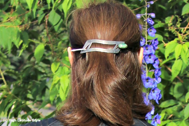 #hairover50 midlife woman wearing a half up-do with barrette