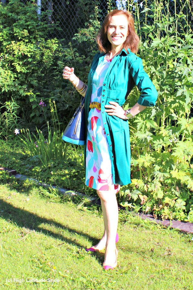 midlife style blogger in shirt dress over sheath