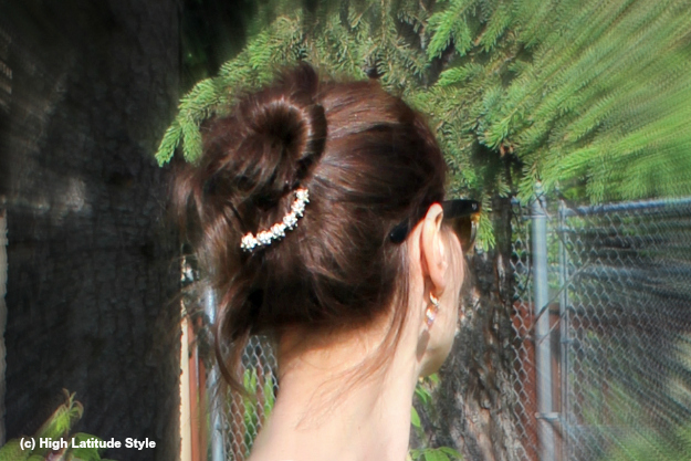 #updoover50 ageless up-do accessorized with barrette
