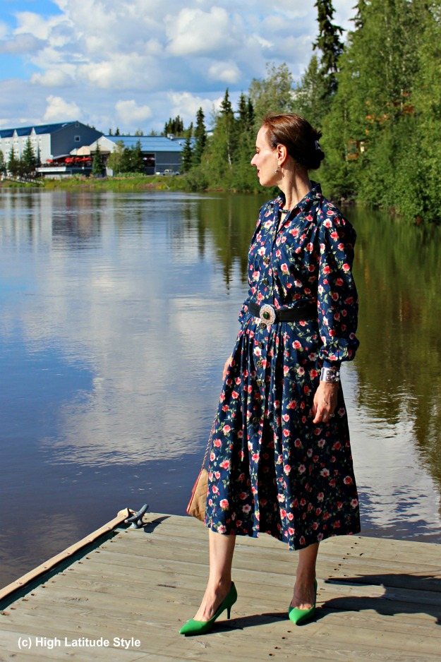 sewing blogger in floral shirt dress at the river