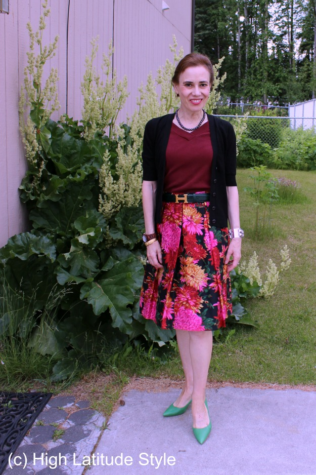#fashionover40 mature woman in floral skirt for work