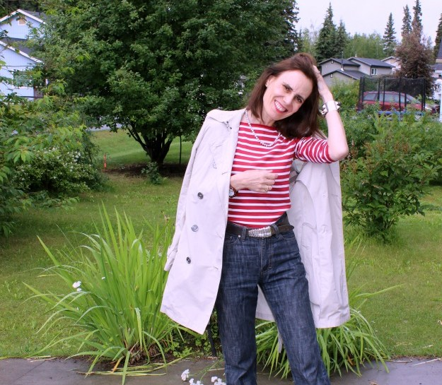 #fashionover40 mature woman in sailor's sweater and trench coat