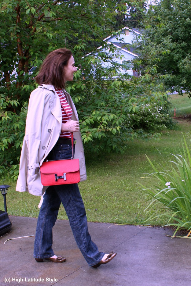 #fashionover50 woman in a French Women inspired outfit