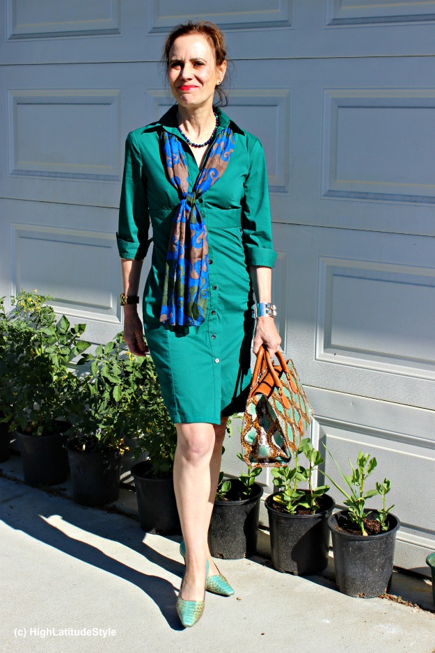 #styleover50 mature woman in a thrifted sleek shirt dress with scarf