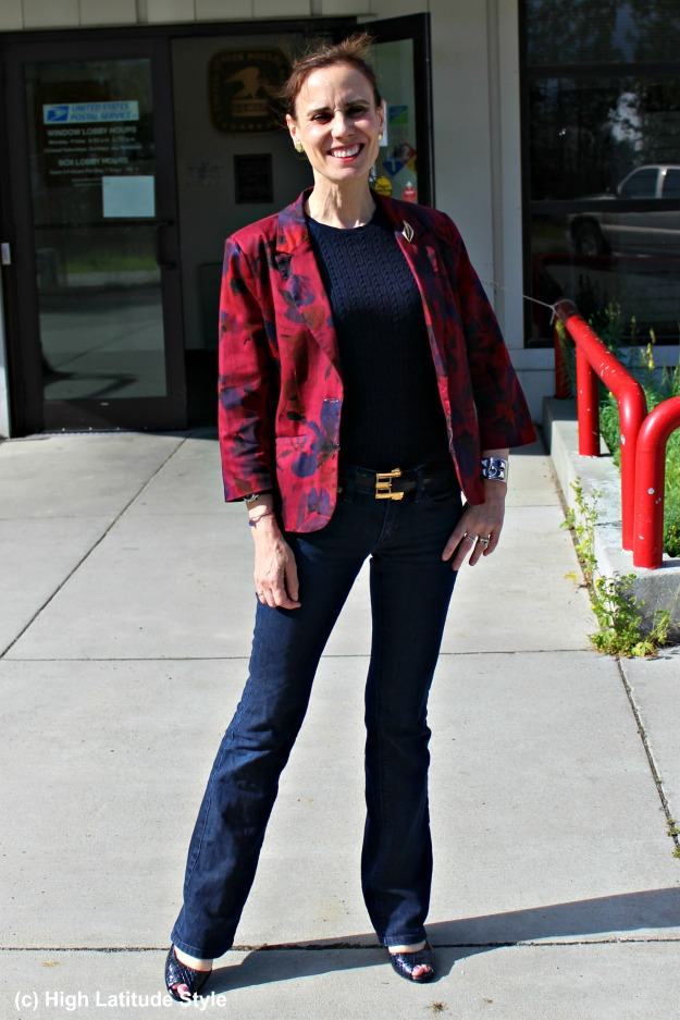 style over 50 mature woman in floral blazer