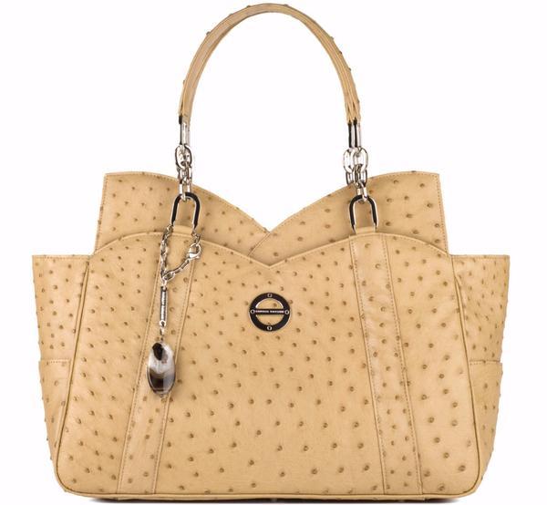 Farbod Barsum Mona Wheat Ostrich Short Handle everyday bag