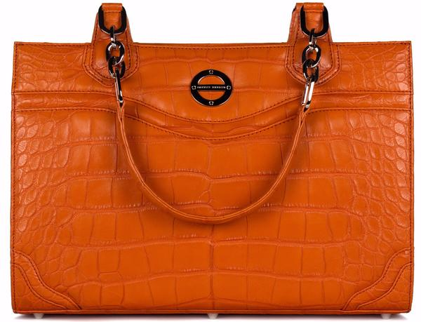 Farbod Barsum Nicole tangerine alligator bag/work tote