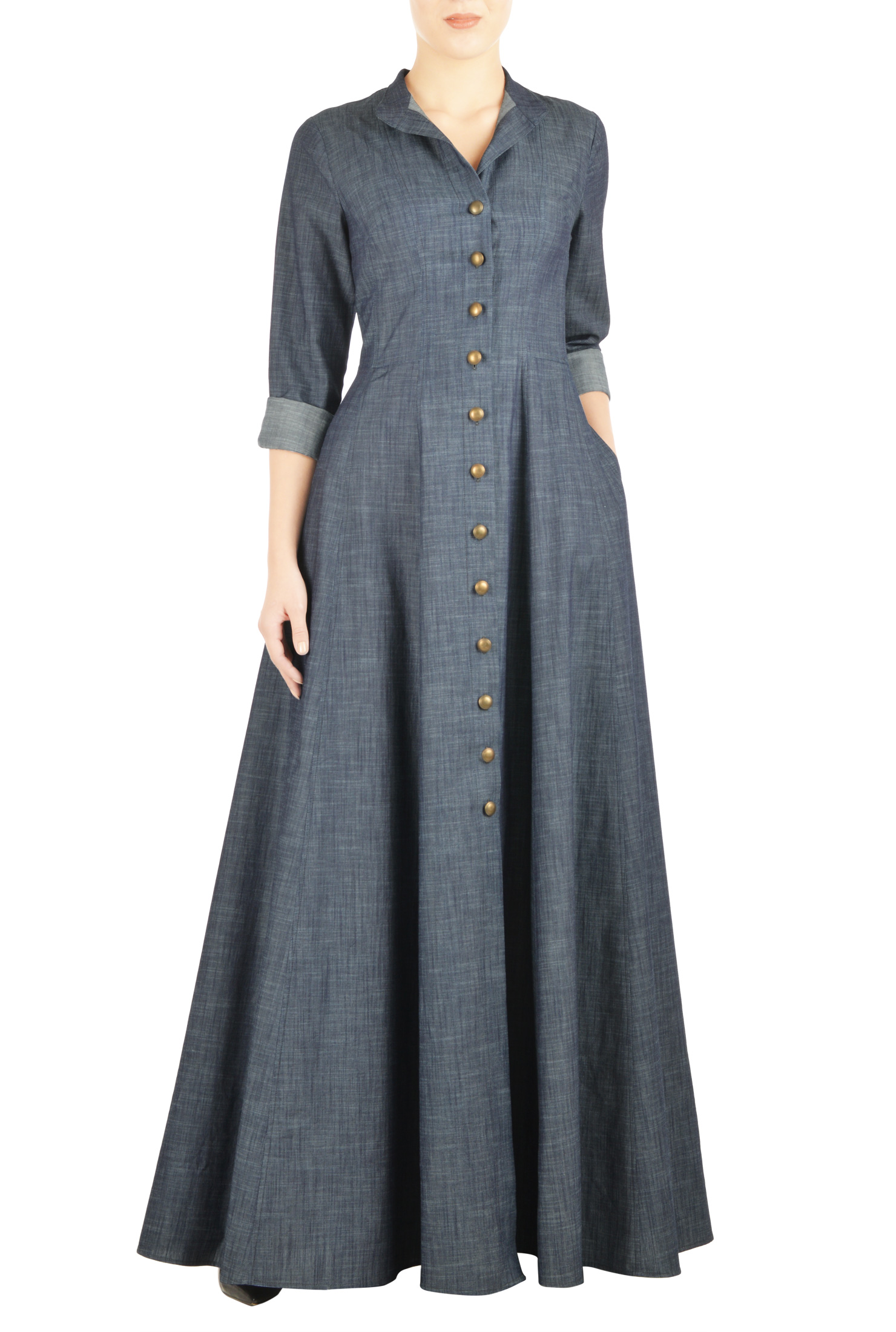 #fall2016 chambray maxi shirt dress