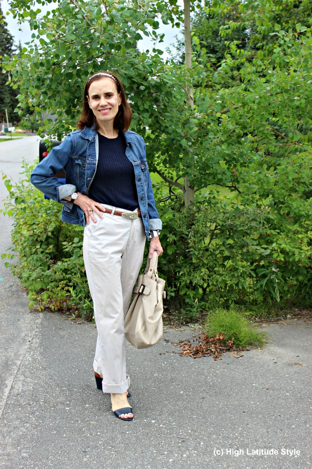 #styleover40 mature woman in casual work outfit