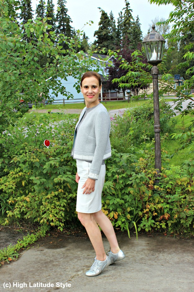 fashion blogger over 40 wearing a white and gray work outfit inspired by BC in the Arctic