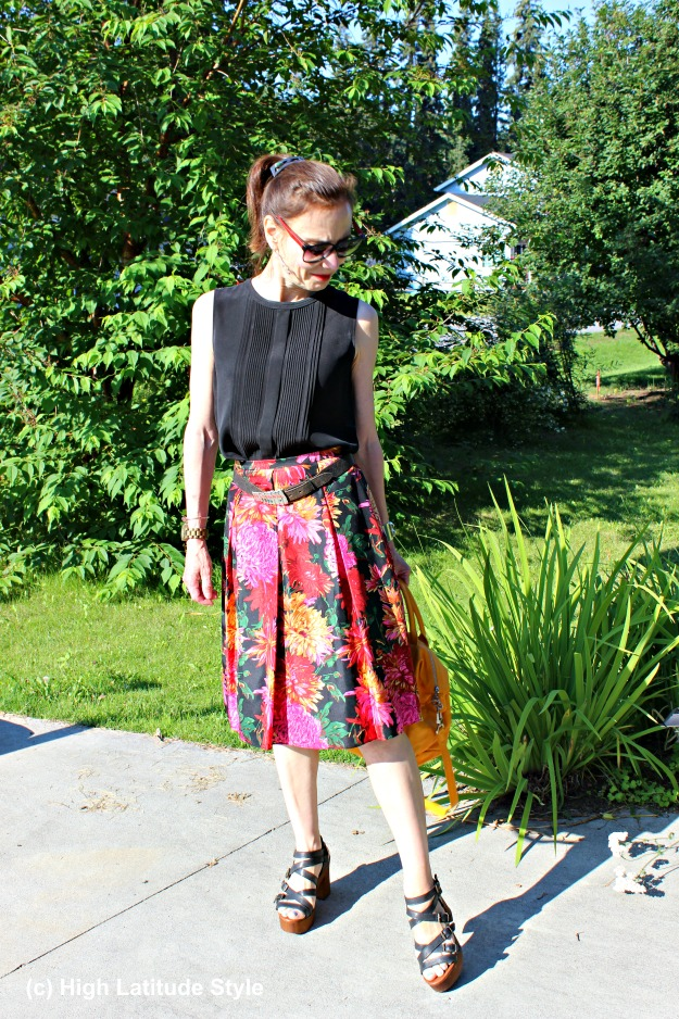 style book author in silk floral print summer skirt with matching top