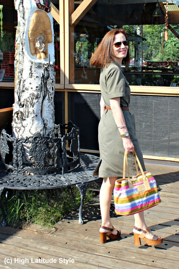 #fashionover50 mature woman in military inspired dress