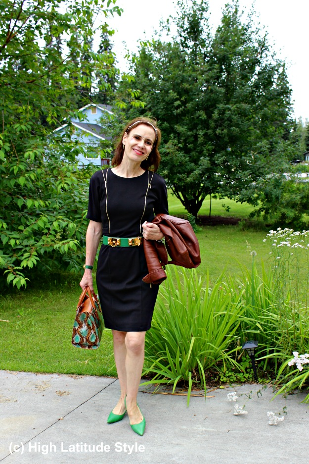 #fashionover40 mature woman in LBD and green pumps
