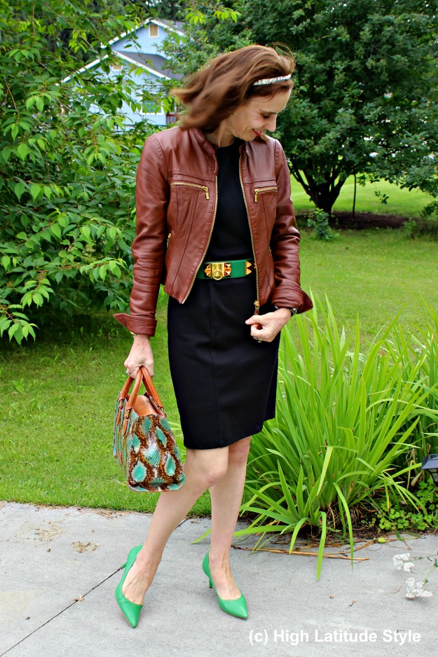 #styleover50 mature woman wearing black, brown and green together