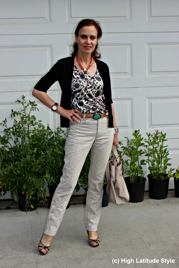 #fashionover50 mature woman in a summer to fall transitional office outfit