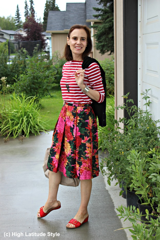 #fashionover40 mature Alaskan style blogger wearing stripes and floral clothes on a rainy day