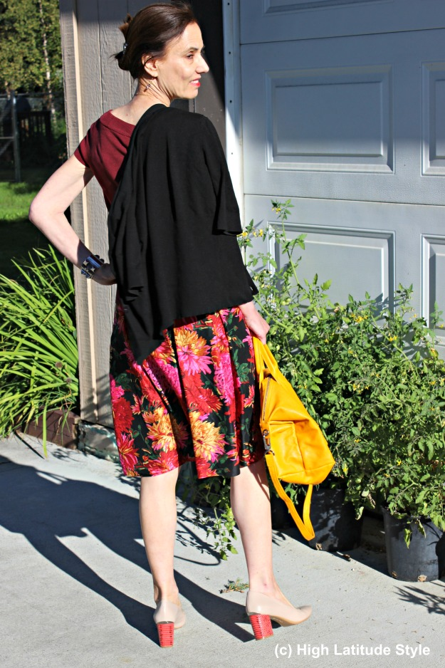 #styleover50 woman in fall office look with faux twinset