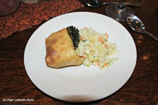 #food halibut plate with potato cabbage salad