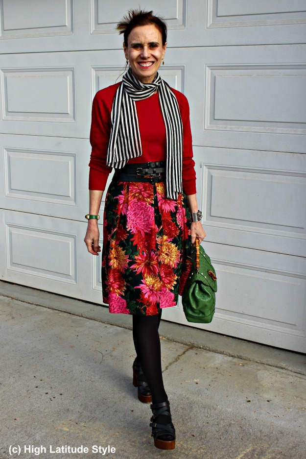 fall work outfit with floral skirt