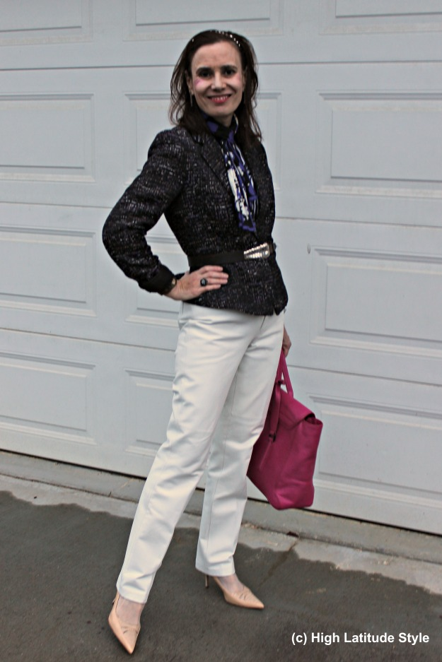 #fashionover50 mature woman in fall work outfit