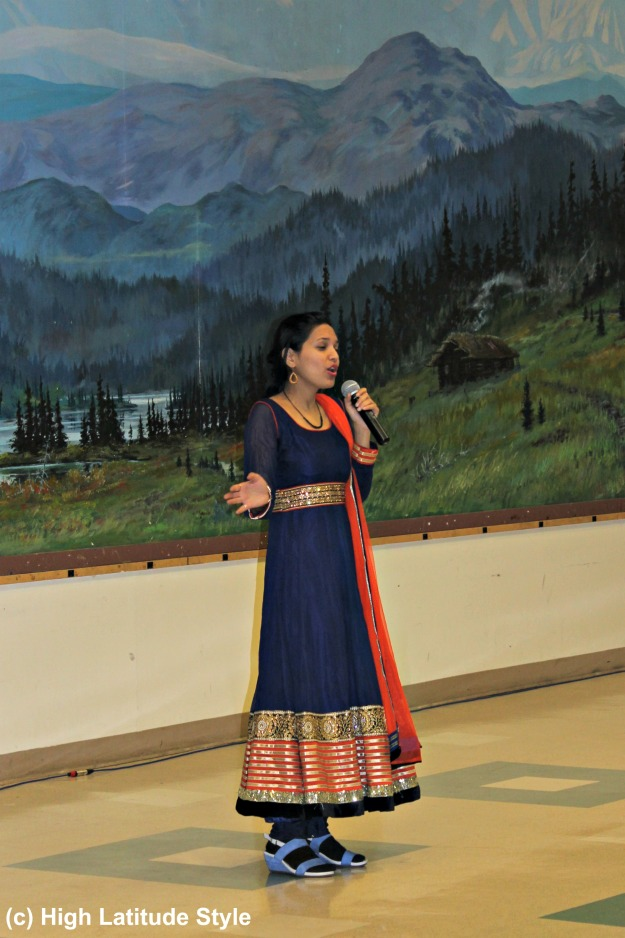 Indian singer in traditional dress
